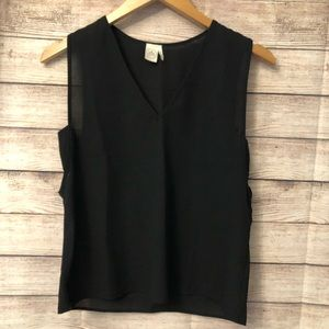 Paper Crane Black Sheer Top With Side Cutouts